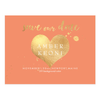 PixDezines faux gold heart/save date/DIY color Postcard