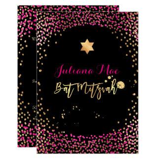 PixDezines Faux Gold+Hot Pink Confetti Bat Mitzvah Card