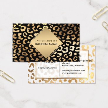 Professional Business PixDezines Faux Gold Leopard Spots/DIY color Business Card