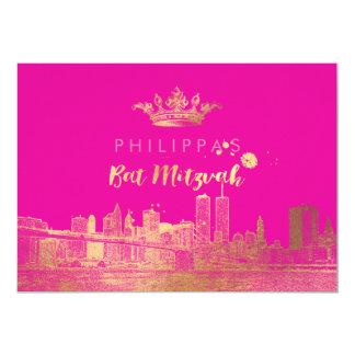 PixDezines Faux Gold NYC/Mitzvah/DIYcolor 5x7 Paper Invitation Card