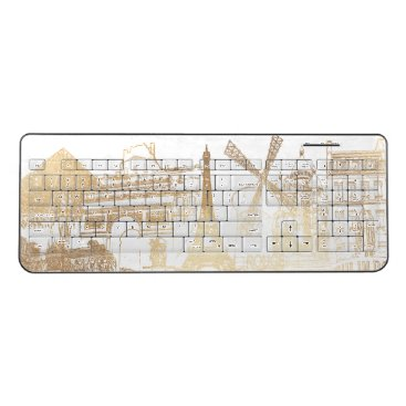 Beach Themed PixDezines Faux Gold Paris Sketched Wireless Keyboard