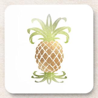 PixDezines Faux Gold Pineapple/DIY background Beverage Coaster