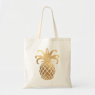 pixdezines PixDezines Faux Gold Pineapple Tote Bag