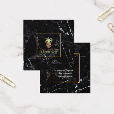 Professional Business PixDezines Faux Gold Pineapples/Black Marble Square Business Card