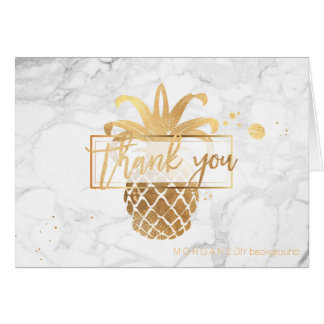 PixDezines faux gold pineapples/thank you Card