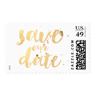PixDezines faux gold/save our date/DIY background Postage