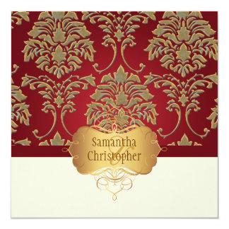 PixDezines faux gold/silver damask 5.25x5.25 Square Paper Invitation Card