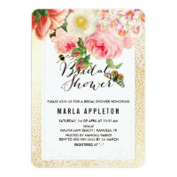 PixDezines faux gold specks/roses/bridal shower Invitation