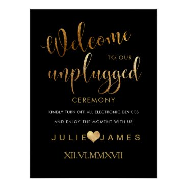Beach Themed PixDezines Faux Gold/#UNPLUGGED/DIY Color Poster