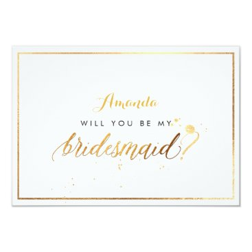 Beach Themed PixDezines Faux Gold Will You Be My Bridesmaid Card