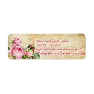 PixDezines faux parchment +vintage roses Label