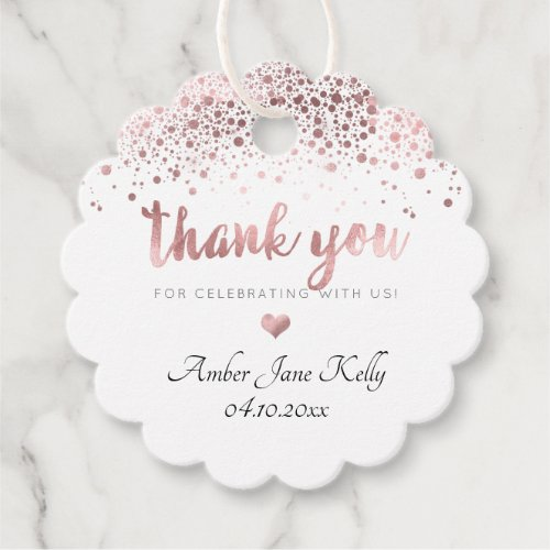 PixDezines Faux Rose Gold Confetti Thank You Favor Tags