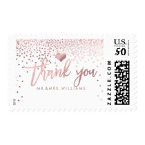 PixDezines Faux Rose Gold Confetti/Thank You Postage