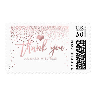 PixDezines Faux Rose Gold Confetti/Thank You Postage