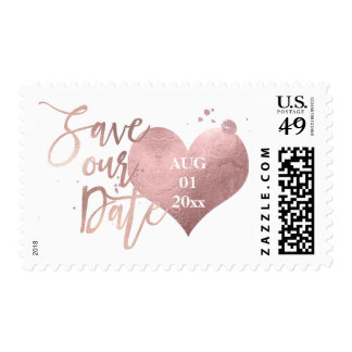 PixDezines Faux Rose Gold Heart/Save Date Postage