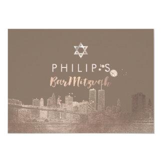 PixDezines Faux Rose Gold NYC/Mitzvah/DIYcolor 5x7 Paper Invitation Card