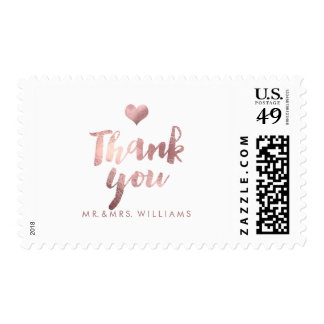 PixDezines Faux Rose Gold Thank You Postage