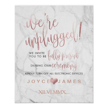 Beach Themed PixDezines Faux Rose Gold #UNPLUGGED CEREMONY Poster