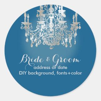 PixDezines faux silve crystal chandelier/DIY color Classic Round Sticker