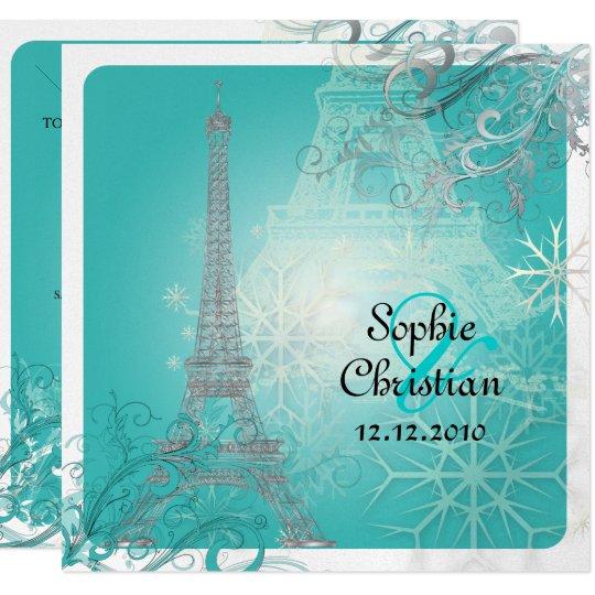 PixDezines Faux Silver Eiffel Tower/Teal Card