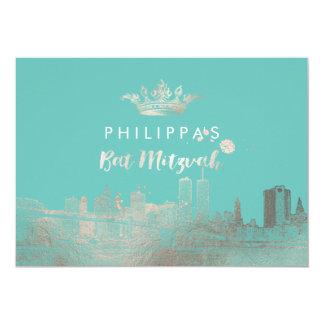 PixDezines Faux Silver NYC/Mitzvah/DIYcolor 5x7 Paper Invitation Card