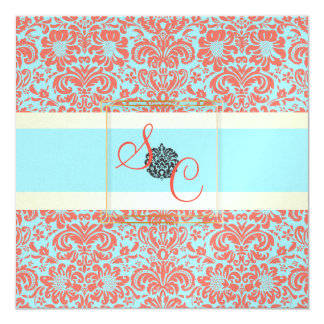 PixDezines Fidora Blue+Coral Vintage Damask 5.25x5.25 Square Paper Invitation Card