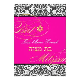 "PixDezines Fidora Damask, Bat Mitzvah/ DIY color 5"" X 7"" Invitation Card"