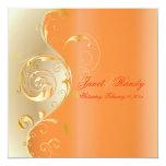 PixDezines Filigree+swirls/gold+orange/diy events Personalized Announcements