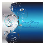 PixDezines Filigree+swirls/silver+blue Custom Invitation