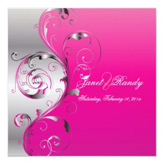 PixDezines Filigree+swirls/silver+hot pink Card