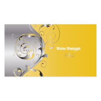 PixDezines Filigree+swirls silver+lemon zest Business Card Template