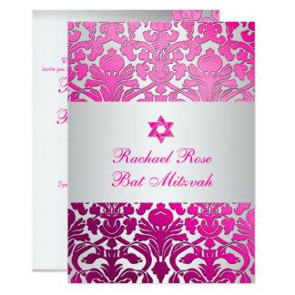 PixDezines Flora Damask Bat Mitzvah/Pink/Silver Card