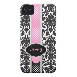 PixDezines Flora Damask/Pink+Black/DIY color iPhone 4 Case