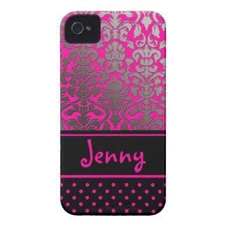 PixDezines Flora Damask/Pink+Black/DIY color iPhone 4 Cover