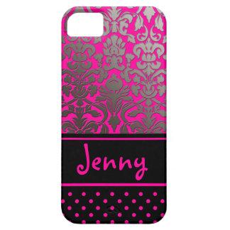 PixDezines Flora Damask/Pink+Black/DIY color iPhone SE/5/5s Case