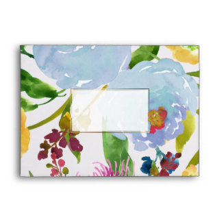 PixDezines floral/acuarela/ranúnculo/azul Sobres
