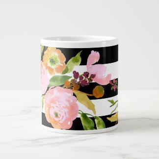 PixDezines floral/acuarela/ranúnculo/rayas Taza Grande