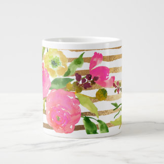 PixDezines floral/acuarela/ranúnculo Taza Grande