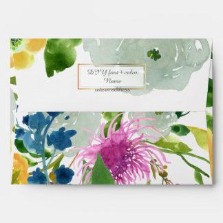 PixDezines floral/acuarela/ranúnculo/verde Sobre