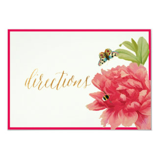 PixDezines Floral Directions Card/Coral Peony Card