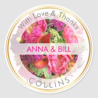 PixDezines Floral/Peonies/Calla Lily/Thank You Classic Round Sticker