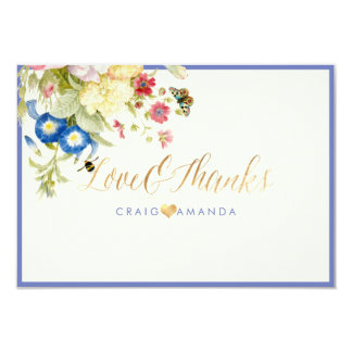 PixDezines Floral Thank you/Morning Glory Blue Card
