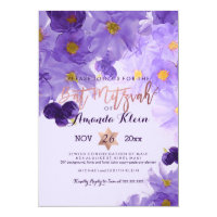 PixDezines Floral Watercolor Bat Mitzvah Card