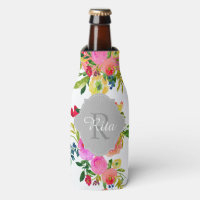 PixDezines Floral Watercolor/DIY background Bottle Cooler