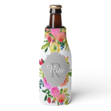 pixdezines PixDezines Floral Watercolor/DIY background Bottle Cooler