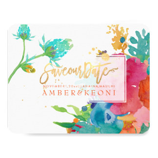 PixDezines Floral Watercolor/Pansies/save our date Card