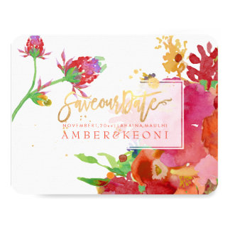 PixDezines Floral Watercolor/Peonies/save our date Card