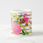 "PixDezines floral/watercolor/ranunculus Giant Coffee Mug<br><div class=""desc"">PixDezines floral/watercolor/ranunculus,  dazzled with faux gold stripes with DIY background color.    com.  All rights reserved.</div>"
