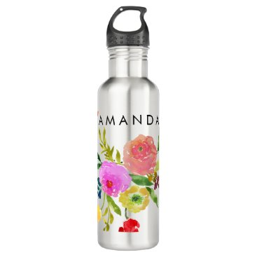 pixdezines PixDezines Floral/Watercolor/Ranunculus Water Bottle