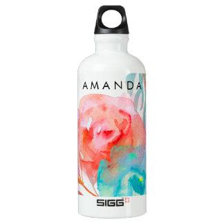PixDezines Floral/Watercolor/Roses Aluminum Water Bottle